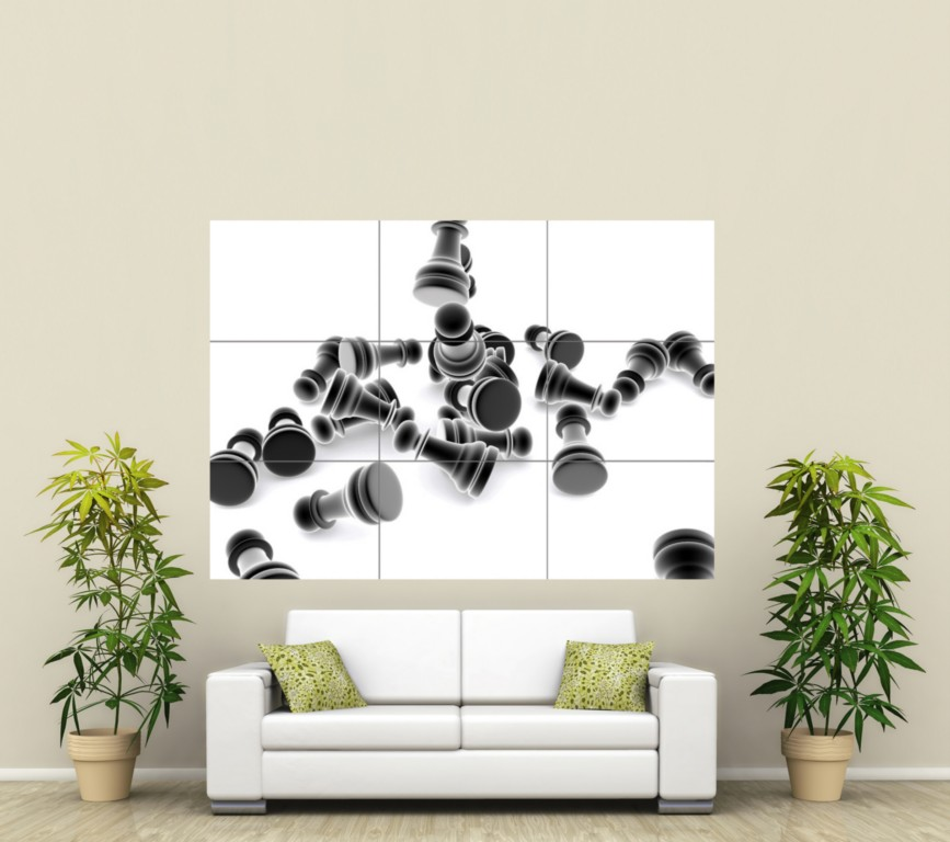 CHESS PIECES DIGITAL GIANT PICTURE POSTER PRINT