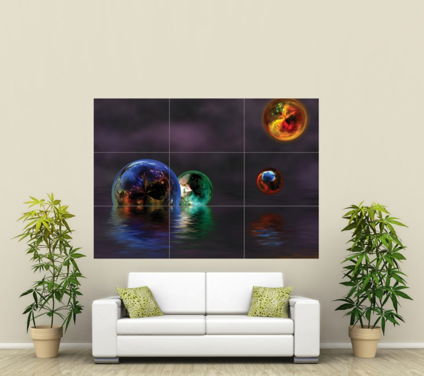 3D ABSTRACT BALLS ART GIANT PICTURE POSTER PRINT ST001
